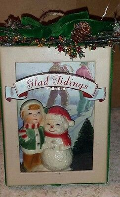 Vintage Christmas Handcrafted  Decoration One Of A Kind Boxed Snowman Scene