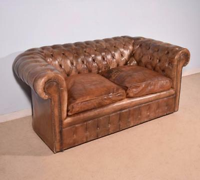 Vintage Leather Upholstered Chesterfield Sofa Settee