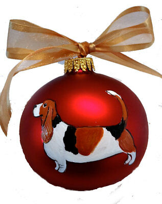 Basset Hound Dog Hand Painted Christmas Ornament - Name Included