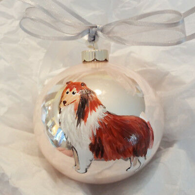 Collie (Long- Rough Coat) Dog Hand Painted Christmas Ornament - with Name