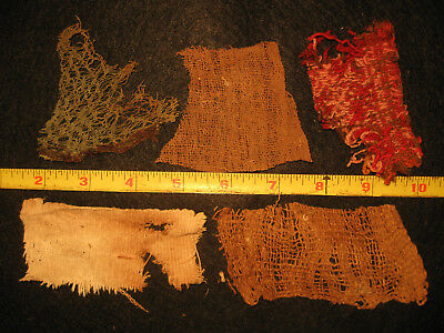 Authentic Pre Columbian Inca Chancay Fabric Textiles, 500 Year Old Cloth, #2-A
