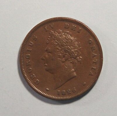 Great Britain 1 Penny 1826 Copper World Coin UK Seated Half Cent GB England