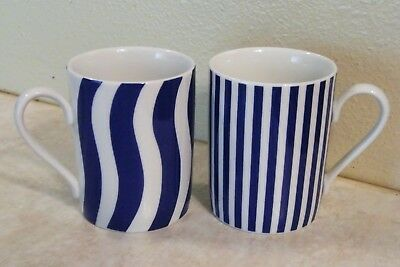 2 WAWEL COFFEE CUPS MUGS Blue White Stripes MADE IN POLAND Vintage