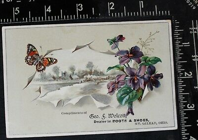 Boots & Shoes Trade Card Ad Geo F Wolcott Mt. Gilead Ohio