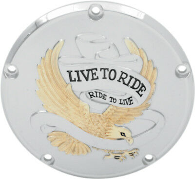 "Drag Specialties Chrome & Gold ""Live To Ride"" Derby Cover 99-14 Harley models"