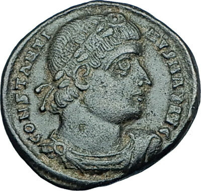 CONSTANTINE I the GREAT 330AD Authentic Ancient Roman Coin w SOLDIERS i65978