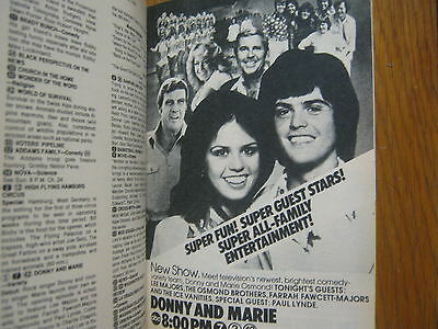 1976 TV Guide(DONNIE AND MARIE/EARL HOLLIMAN/POLICE WOMAN/THE ADAMS CHRONICLES