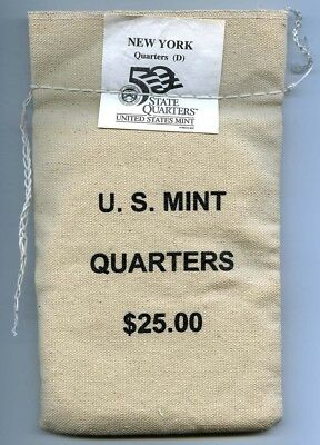 2001-D New York State Quarters Mint Sewn Bag - $25 Face Value