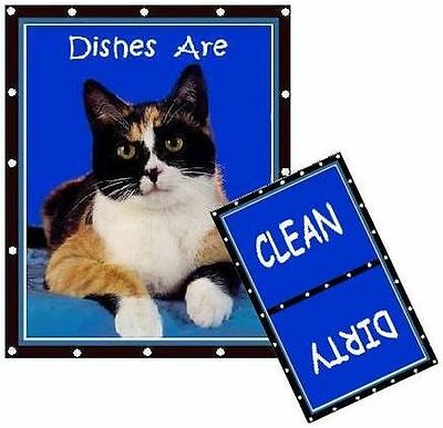 CALICO CAT  Dishwasher MAGNET (Clean/Dirty)  SHIP FREE!