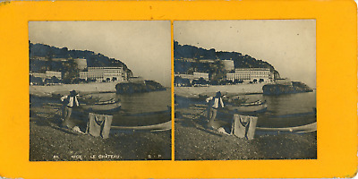 STEREO, France, Nice, le Château STEREO VINTAGE CARD Tirage albuminé  8,5x17