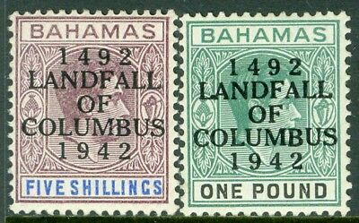 EDW1949SELL : BAHAMAS 1942 Scott #128-29 Very Fine, Mint Original Gum H. Cat $40