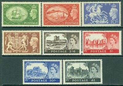 EDW1949SELL : GREAT BRITAIN 1951-55 Sc #286-89, 309-12 Both Cplt sets Cat $346