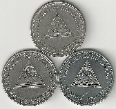 3 DIFFERENT 1 CORDOBA COINS from NICARAGUA (1997, 2002 & 2007)