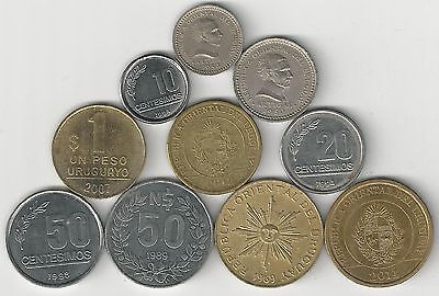 10 DIFFERENT COINS from URUGUAY (10 TYPES/8 DENOMINATIONS/1953-2012)