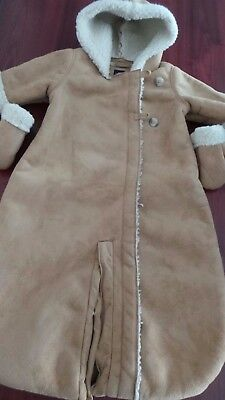 Baby Gap Girls Sheepskin Hooded Snow Suit 3-6 Months