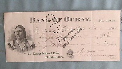 1904 Ouray Colorado Chief Ouray Vignette Bank Of Ouray Cancelled Check-Mining