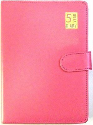 A5 Pink Leather Bound Slim 5 Year Undated Open Diary With Soft Magnetic Closure