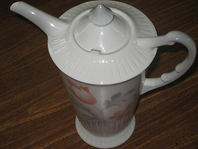 Syracuse China Vogue Coral salmon Gray air-brush Pot Pitcher Tall Shelledge EXC
