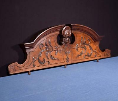 "*33"" French Antique Pediment Architectural Crown Walnut Wood Crest"
