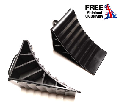 Wheel Chocks Plastic Reversing Slip Pads Stoppers - Black (2 pcs) For Isuzu