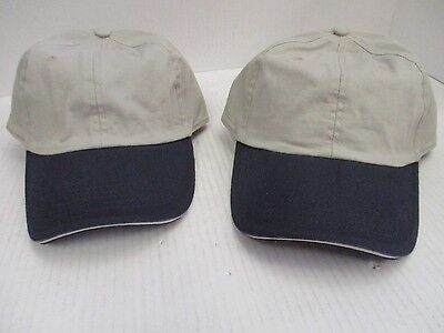 One Pair Of New Gray Caps/hats W/ Navy Blue Bills-6 Panel-Buckle-Modern Sou[3105