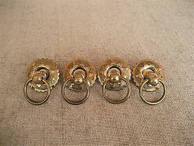 Vintage Brass Ornate Round Plate Ring Pull Handle Drawer Door Hardware Lot Of 4