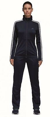 adidas Damen Sport Fitness Trainingsanzug Back 2 Basics 3S Tracksuit blau weiss