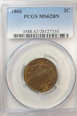 1866 2C Two-Cent Piece PCGS MS62BN Obsolete Coin [330] T7