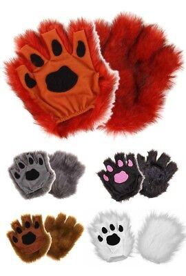 Furry Paws - Fingerless Gloves in Multiple Colors