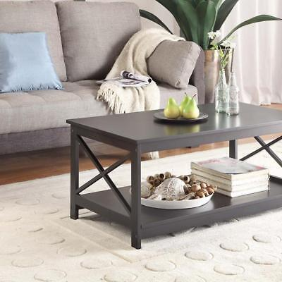 Eco Friendly Coffee Table With Bottom Storage Shelf Manufactured Wood Black