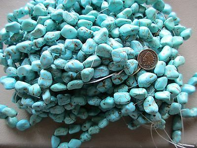 Polished Large Turquoise Bead Strands,  Natural Nugget Variety......on F-399