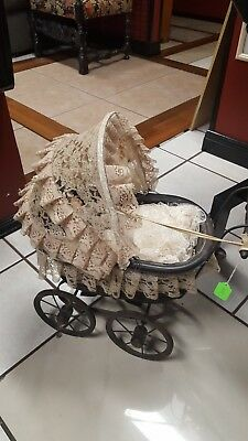 vintage Wicker Baby Doll Carriage Victorian wood Wheels iron lace antique