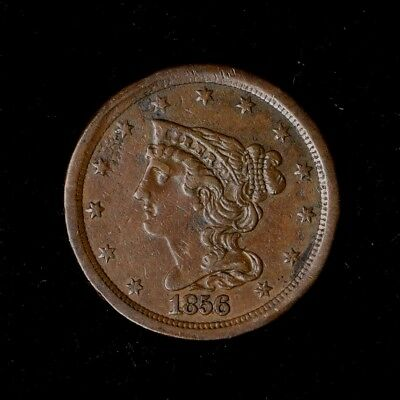 1856 1/2C Braided Hair Half Cent Copper Us Type Coin