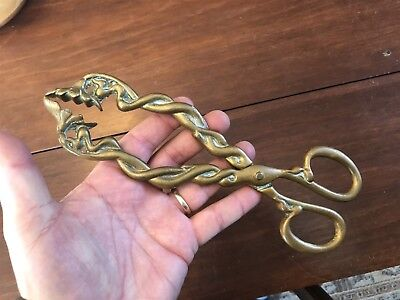 """Large Antique Ornate Brass Fireplace Coal or Stove Tongs, 9 1/2"""""""