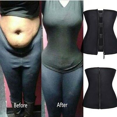 Corset Latex Zip Body Shaper Slimming Waist Trainer Cincher Belly Control Girdle