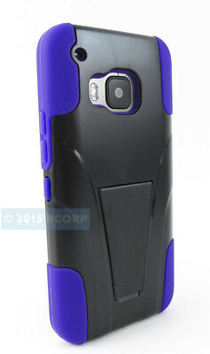 For Htc One M9 2015 Black Purple Refined Hybrid Case Cover Stand Phone Accessory