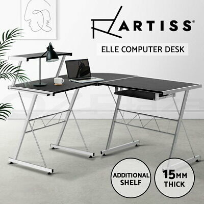 Office Computer Desk Corner Table Metal Pull-Out Keyboard Tray Top Shelf Black