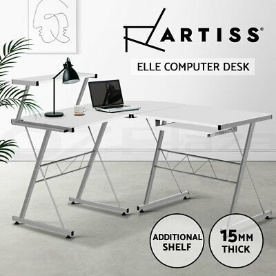 Office Computer Desk Corner Table Metal Pull-Out Keyboard Tray Top Shelf White