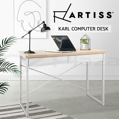 Office Computer Desk Metal Study Student Home Table Business Cabinet White Oak