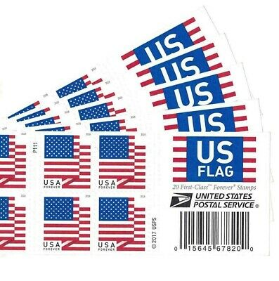 Five Booklets x 20 = 100  2018 US FLAG USPS Forever Postage Stamps. Scott # 5262