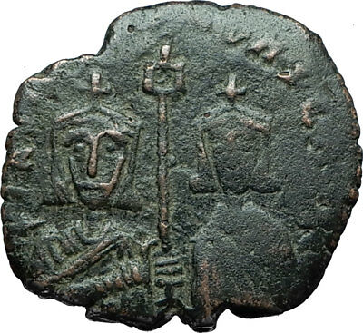 BASIL I the Macedonian and Son CONSTANTINE Ancient Byzantine Follis Coin i66240