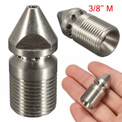 9 Jet High Pressure Washer Drain Sewer Cleaning Nozzle 3/8'' Male 1 Front 8 Rear