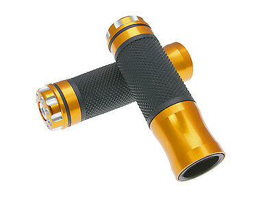 Grips Set Handlebar Black CNC in Gold Universal Scooter Quad ATV Motorcycle