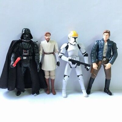 "Lot 4PCS STAR WARS DARTH VADER OBI-WAN 3.75"" Hasbro Action Figure Boy Toy Gift"