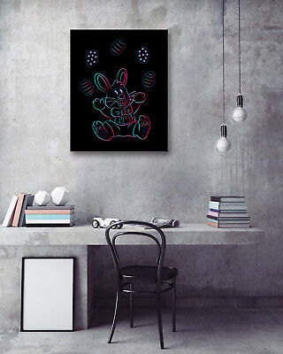 Modern Art Poster-Rabbit Playing Egg Easter Prints Room Decor Canvas Painting