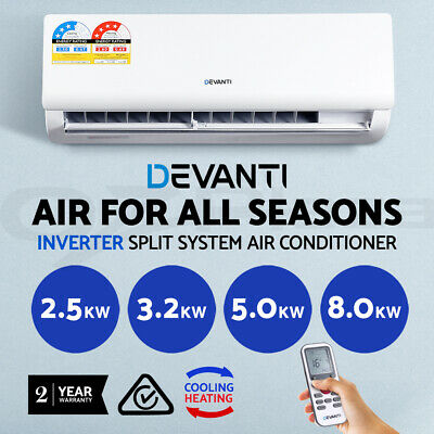 Devanti 2.5/3.2/5/8KW Split System Air Conditioner Heater Reverse Cycle Inverter