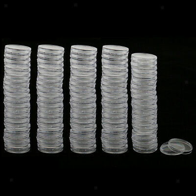 100pcs Coin Capsules Coin Storage Boxes Container Coins Display Case 19-40.6mm