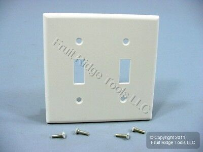 Leviton White 2-Gang Toggle Switch Plastic Cover Wall Plate Switchplate 88009