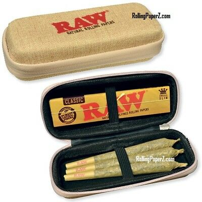 New! RAW CONE WALLET - ZIPPER CASE HOLDS KING SIZE PRE-ROLLS/Rolling Paper Packs
