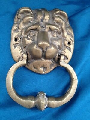 Antique ARCHITECTURAL SOLID BRASS LARGE RE-CLAIMED LION MASK DOOR KNOCKER Vtg